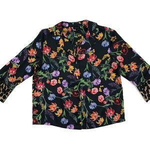 Vintage Black Floral Button Up Shirt / S